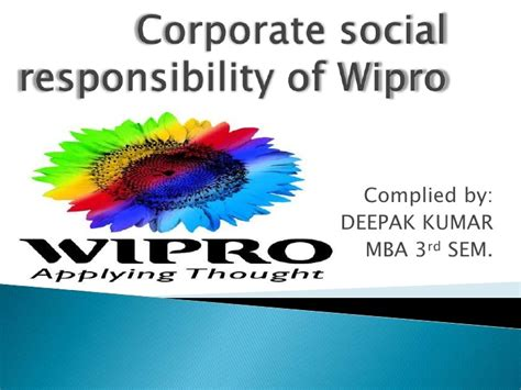 Corporate Social Responsibility Mba Notes Pdf by Corporate Social Responsibility Of Wipro