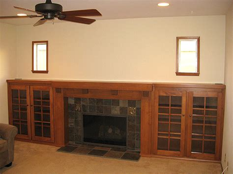 fireplace with bookshelves custom arts and crafts fireplace mantel and side bookcases