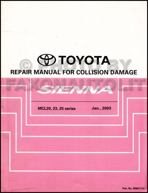 vehicle repair manual 2006 toyota camry security system 2004 toyota sienna repair shop manual set original