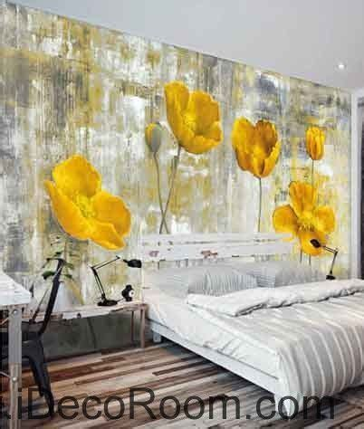 Vintage Golden Poppy Flower Painting Wallpaper Wall Decals Poppy Wallpaper Home Interior