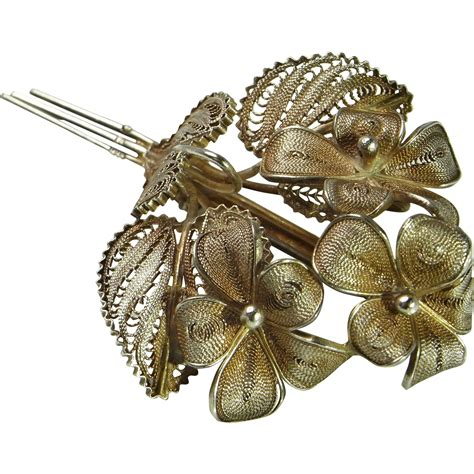 Handmade Silver Brooches - deco brooch bouquet brooch violet jewelry silver