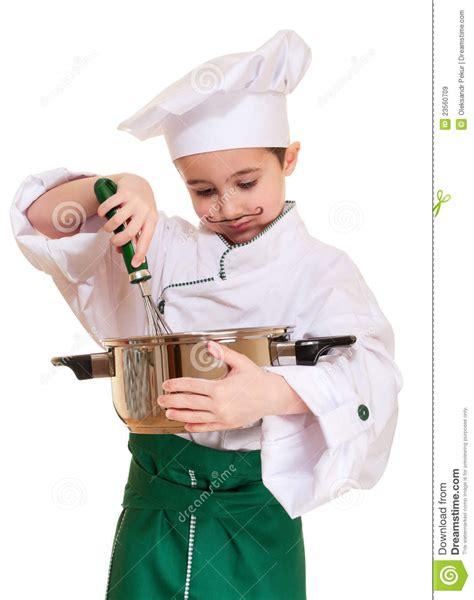 cuisine petit chef petit chef avec l ustensile de cuisine image stock image