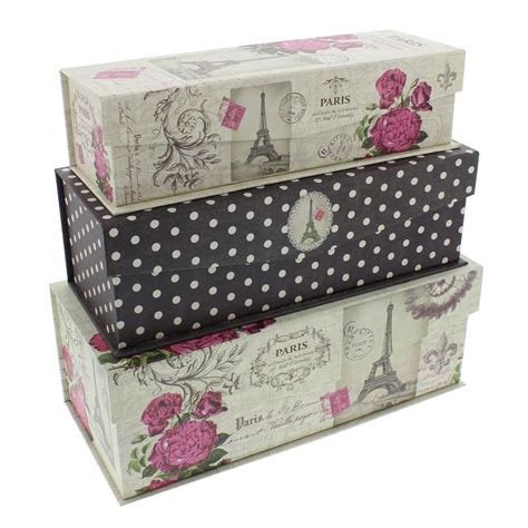 pretty decorative storage boxes set of 3 paris romance