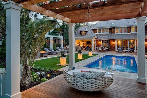 coastal inspired outdoor space  pool pergola
