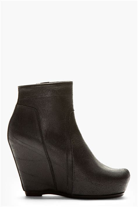 rick owens black leather wedge boots