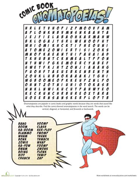 printable word search for language arts onomatopoeia comic word search word search worksheets