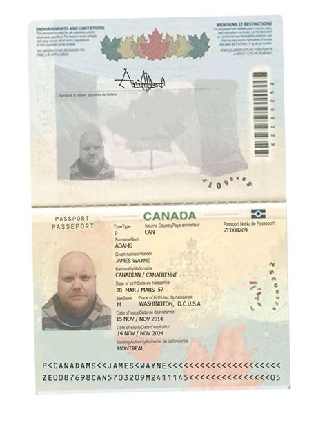 novelty passport template canadian passport template business template