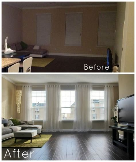 living room curtain rod a after the chaseys bright living room before and after it s amazing how