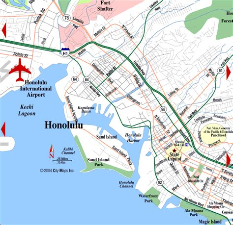 road map of honolulu center honolulu hawaii