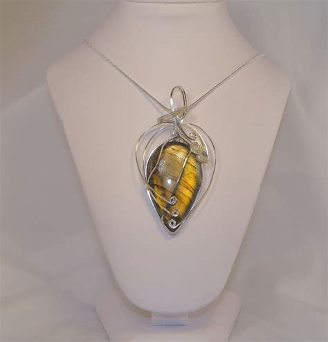 Commercial Chandelier Hand Wire Wrapped Labradorite Cabochon Necklace Keith