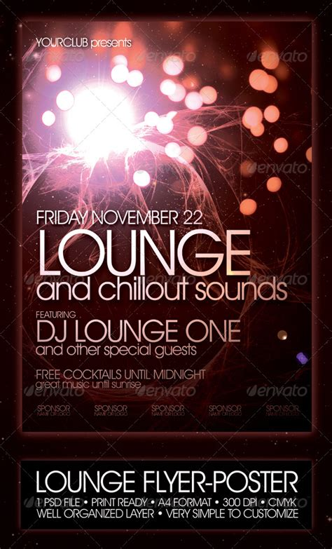lounge flyer poster template night club fliers