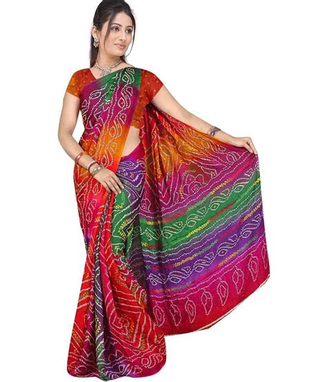 53% OFF on Mahaveer Rajasthani Art Crepe Bandhani Saree With Blouse Piece on Snapdeal
