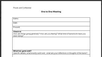 One On One Meetings With Employees Template by 1 On 1 Meeting Form Myideasbedroom
