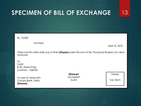 Bill Of Exchange Drawer by Negotiable Instruments Act 1881