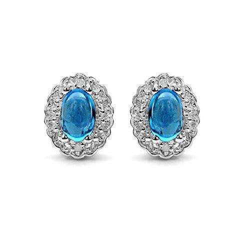 Blue Topaz 1 48 Carat 1 30 carat genuine swiss blue topaz white topaz 925