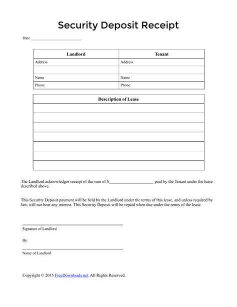Free Rent Deposit Receipt Template by Security Deposit Receipt Template Pdf Rtf