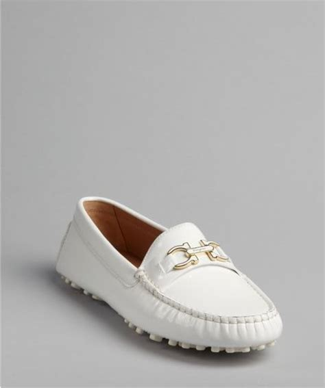 white patent leather loafers ferragamo white patent leather gancio strapped soft
