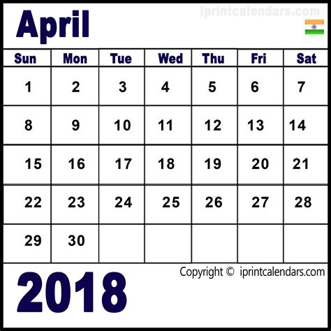 Calendar 2018 April India April 2018 Calendar India Templates Tools
