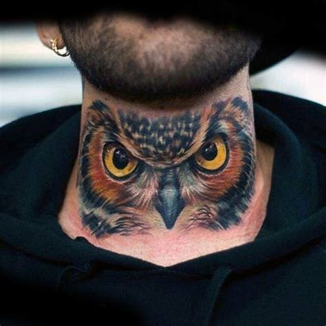 tattoo owl on neck 30 owl neck tattoo designs for men bird ink ideas
