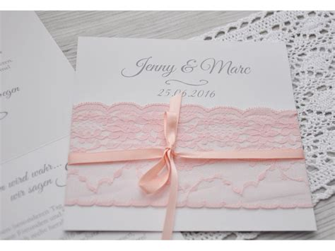 Einladungskarten Rosa by Einladungskarte Hochzeit Mit Rosa Stoffspitze