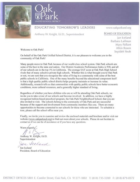 Letter For Outreach Program Community Outreach Welcome Letter From Opusd