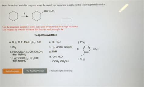 the table used solved from the table of available reagents select the o
