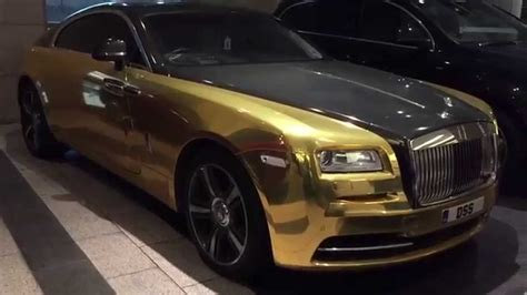 rolls royce gold and gold rolls royce wraith driving walkaround youtube