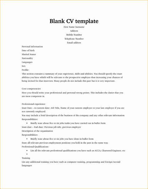 Blank Curriculum Vitae by 5 Curriculum Vitae Blank Form Free Sles Exles