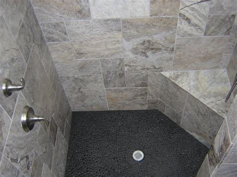 black pebble shower floor tile quotes