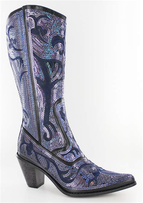 bling boots new helens navy bling sequin western boots size 5 6