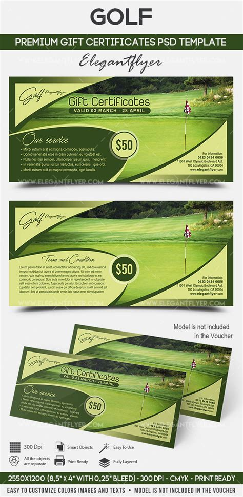 Golf Premium Gift Certificate Psd Template By Elegantflyer Golf Gift Certificate Template