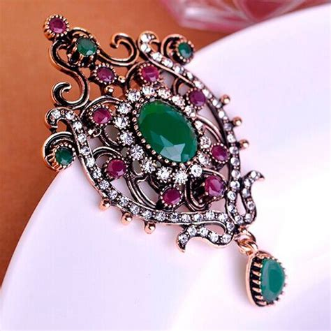 Pin Turki 1 crown design turkish brooches pins colares green resin accessories vintage pin