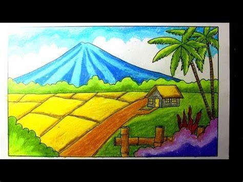 crayon menggambar pemandangan alam sawah youtube