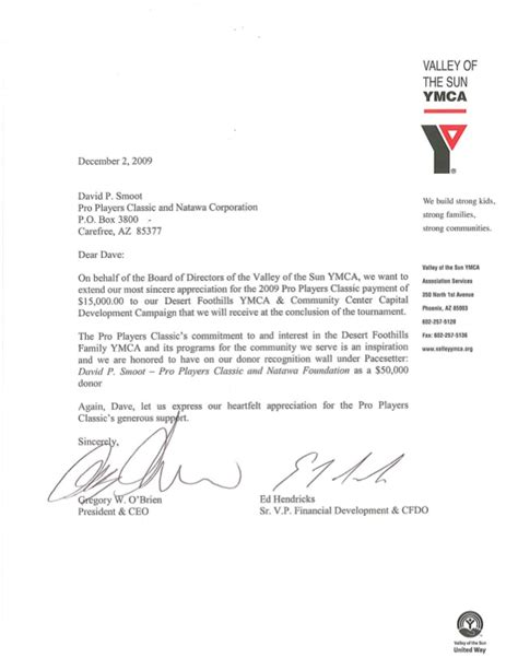 Thank You Letter For Upcoming Ymca Thank You Letter To Pro Players David P Smoot
