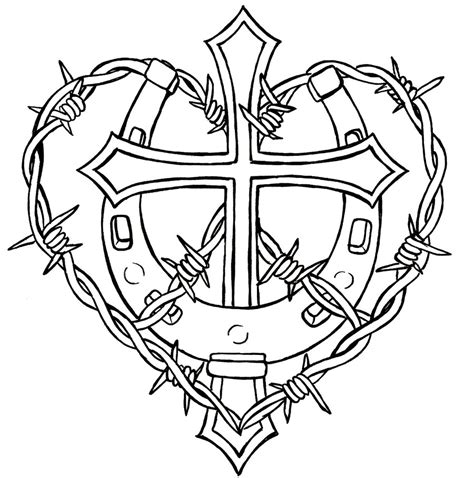 cross with barbed wire tattoo cross and horseshoe with barbed wire design free