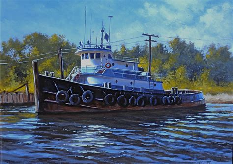 tugboat painting oil painting of tugboat in sunset creek