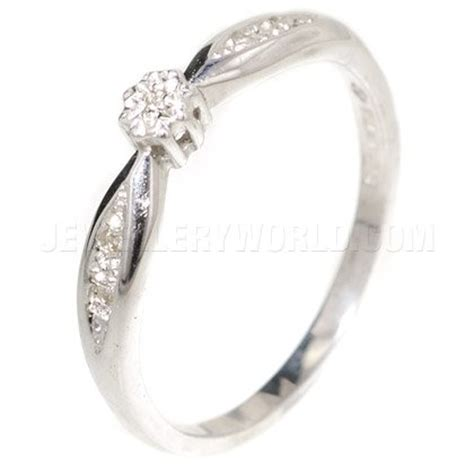 engagement ring 9ct white gold with curved lozenge