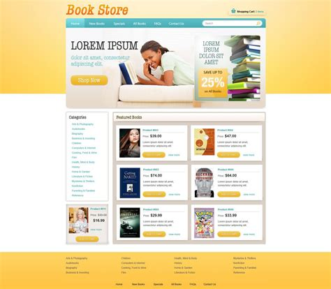 template store book store template free ecommerce website