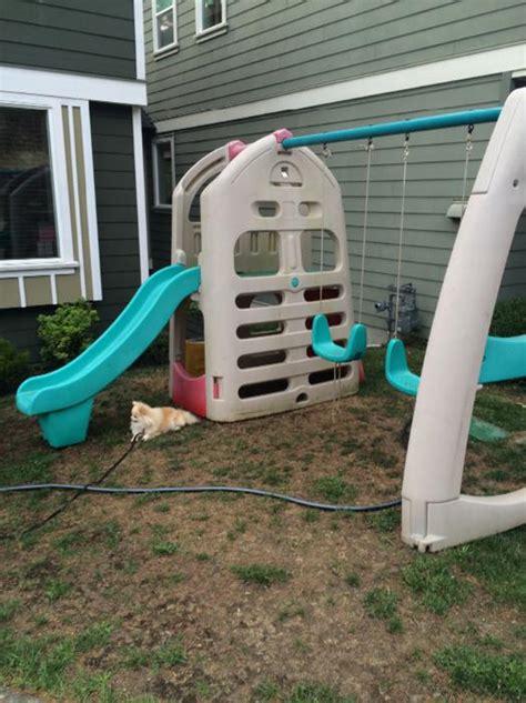 used step 2 swing set step 2 swing set slide fort west shore langford