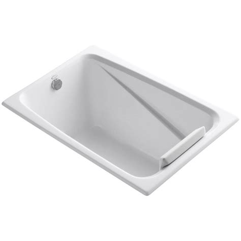 kohler soaking bathtubs kohler greek 4 ft reversible drain acrylic soaking tub in