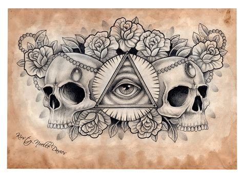 all seeing eye tattoo designs illuminati and skull chest design scanned by