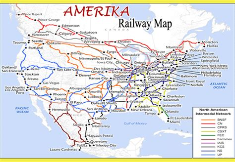 united states  america usa railway map  travel