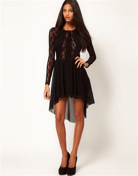 20 At Asos Until 11th Nov by Lyst Asos Lace Insert Skater Dress With High Low Hem In
