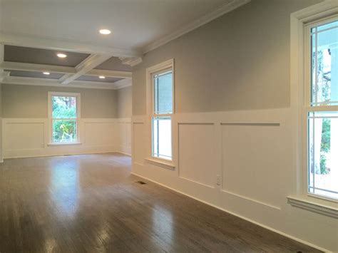 Wainscoting Squares Square Simple Wainscoting And Coffered Ceiling Light Grey