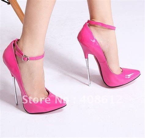 High Heels 16 16cm metal thin heels shoes pink high heel shoes autumn sandals paten leather pumps size 36 43