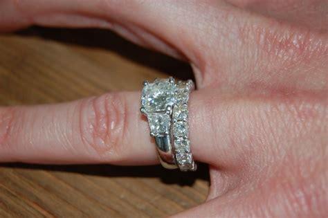 three radiant cut engagement ring infinity wedding