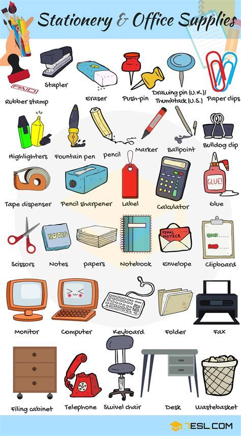 Stationery and Office Supplies Vocabulary in English   7 E S L