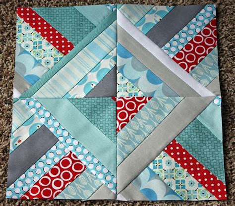 Square Quilt Blocks by Half Square Triangle String Block Quilts