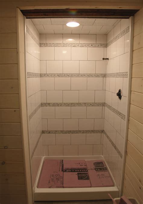 How To Grout Shower by Our Basement Part 30 The Striped Shower Is Grouted