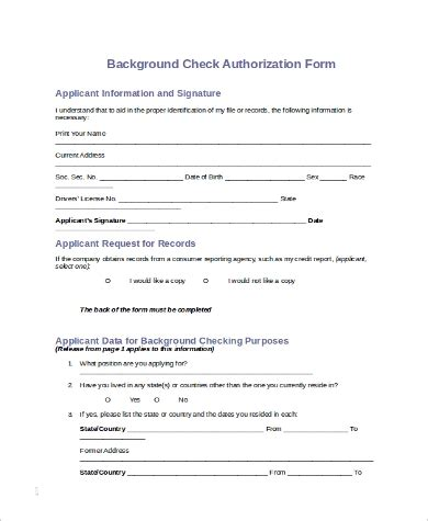 background check application template 10 sle background check forms sle templates